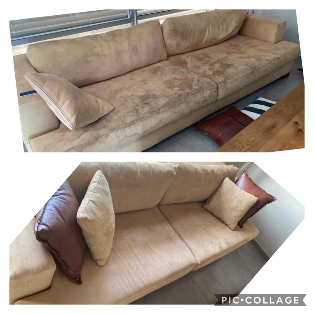 לפני ואחרי ניקוי ספה מבד